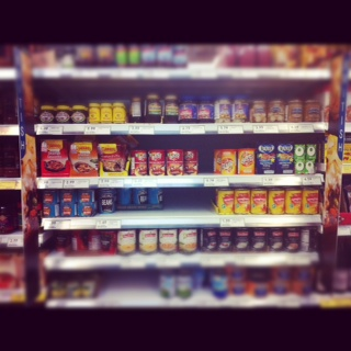 British food aisle at tescos fresh & easy in california