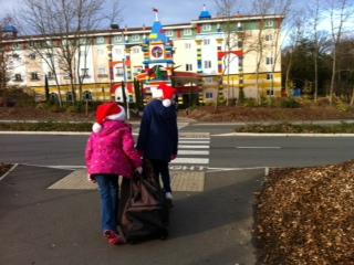 Arriving at the santa sleepover ay legoland hotel